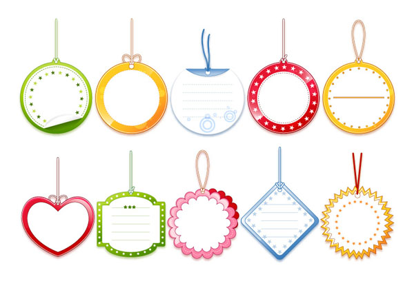 free vector Blank tag vector cute label