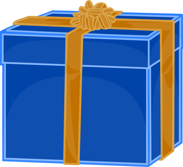 free vector Blue Gift With Golden Ribbon clip art