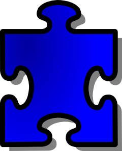 free vector Blue Jigsaw Puzzle Piece clip art