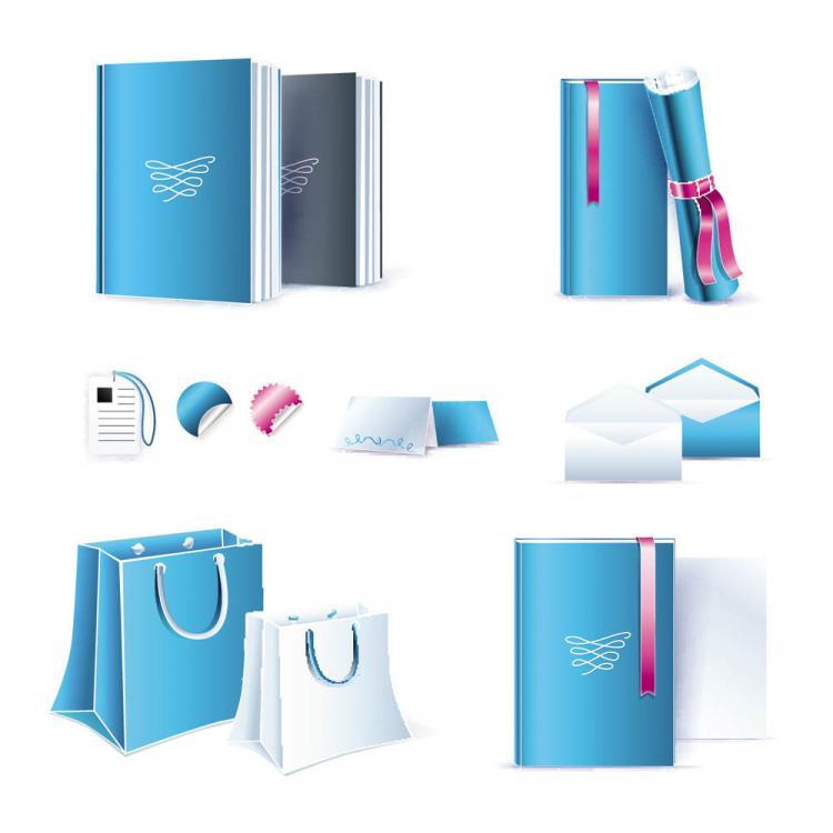 free vector Blue office equipment 02 vector