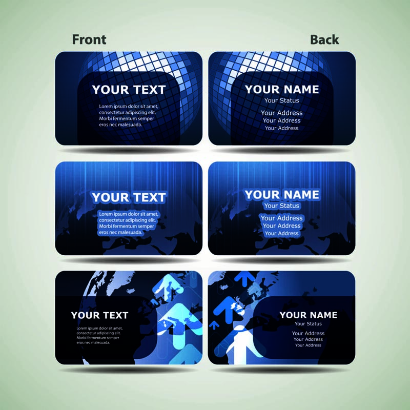 Blue technology business card template 01 vector Free Vector / 4Vector