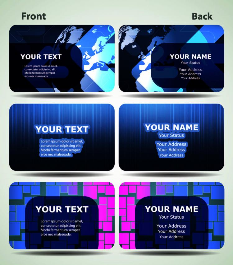 Blue technology business card template 03 vector Free Vector / 4Vector