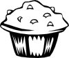 free vector Blueberry Muffin (b And W) clip art