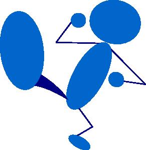 free vector Blueman Kicking clip art