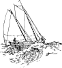free vector Boat Sailing In Strong Waves clip art