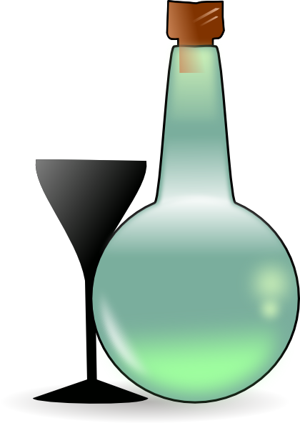 free vector Bottle Of Absinthe And Cup clip art