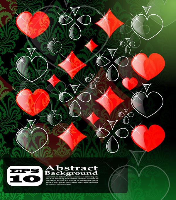 free vector Box clubs spades hearts brilliant shading pattern vector