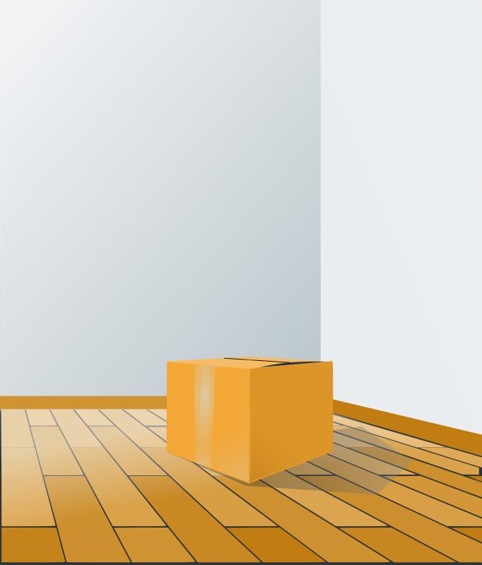 free vector Box over wood floor