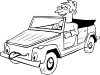 free vector Boy Driving Car Cartoon Outline clip art