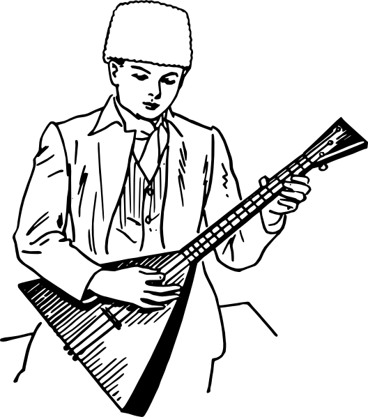 free vector Boy Playing Balalaika clip art