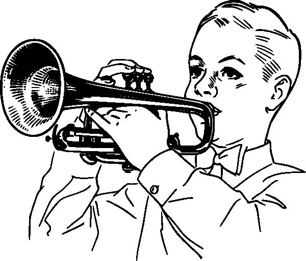 free vector Boy Playing Cornet clip art