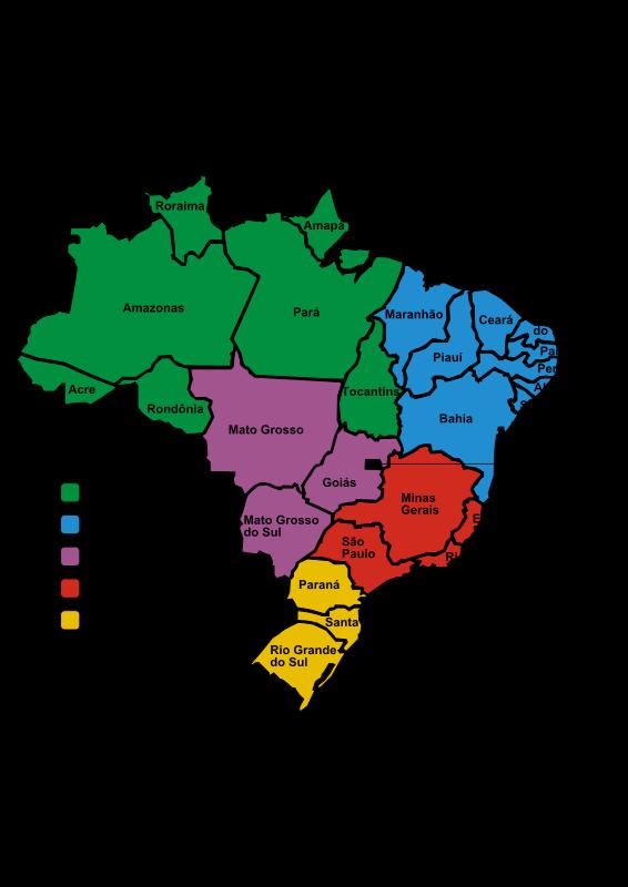 free vector Brazil in Regions (Portuguese)