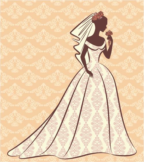 free vector Bride silhouette 01 vector