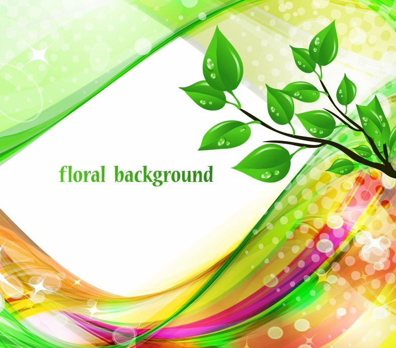 free vector Bright Abstract Green Floral Background