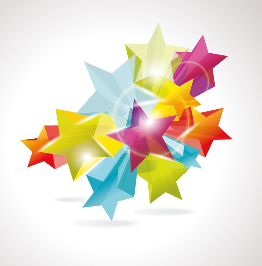 free vector Brilliant dynamic fivepointed star 02 vector