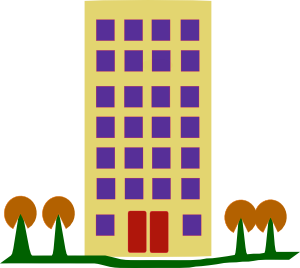 free vector Building With Trees clip art