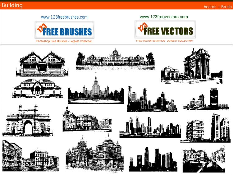 free vector Buildings free vector and photoshop brush pack