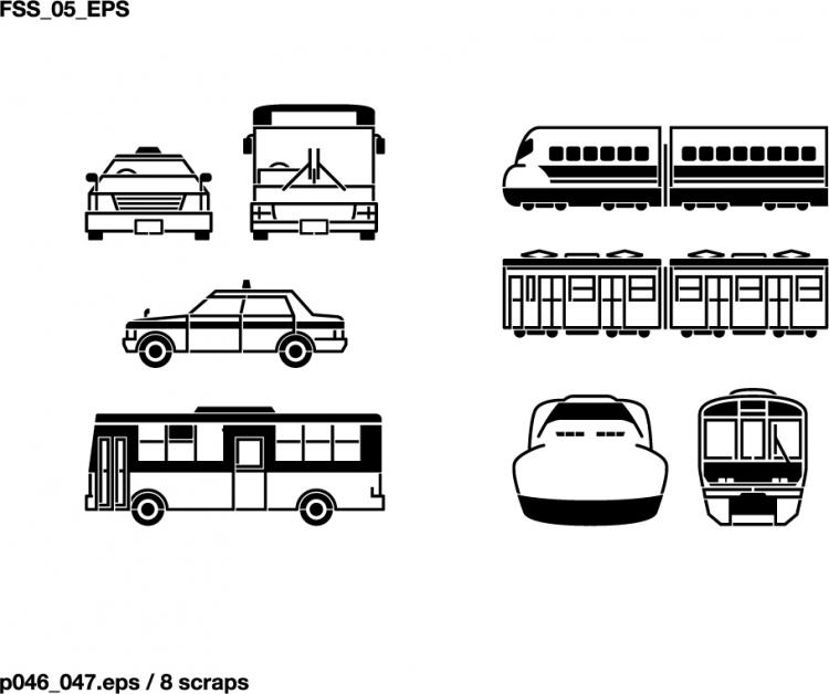 free vector Buses, taxis, mixer, ships, space shuttles, excavators