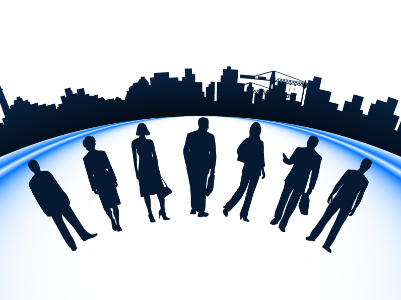 free vector Business people and urban construction silhouette