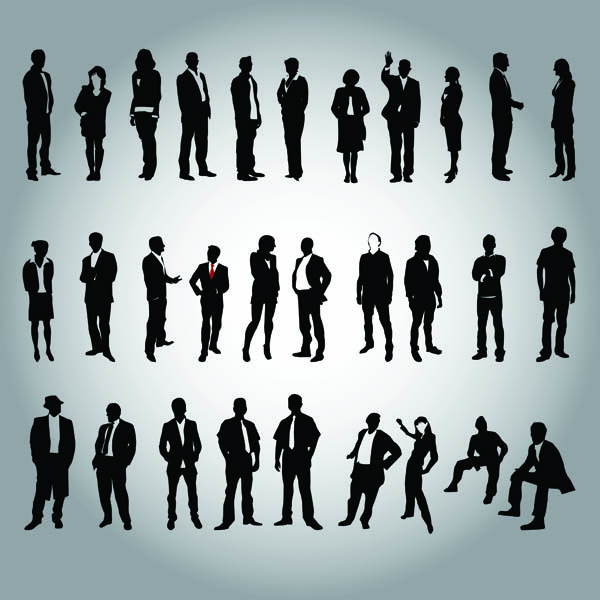 free vector Business people and workers in silhouette vector