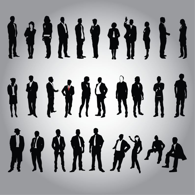 free vector Business People Silhouette Vector Set