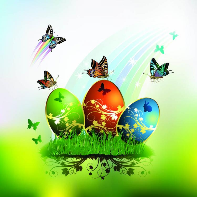 free vector Butterflies and decorated easter egg cards 01 vector