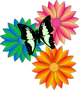 free vector Butterfly And Flowers clip art