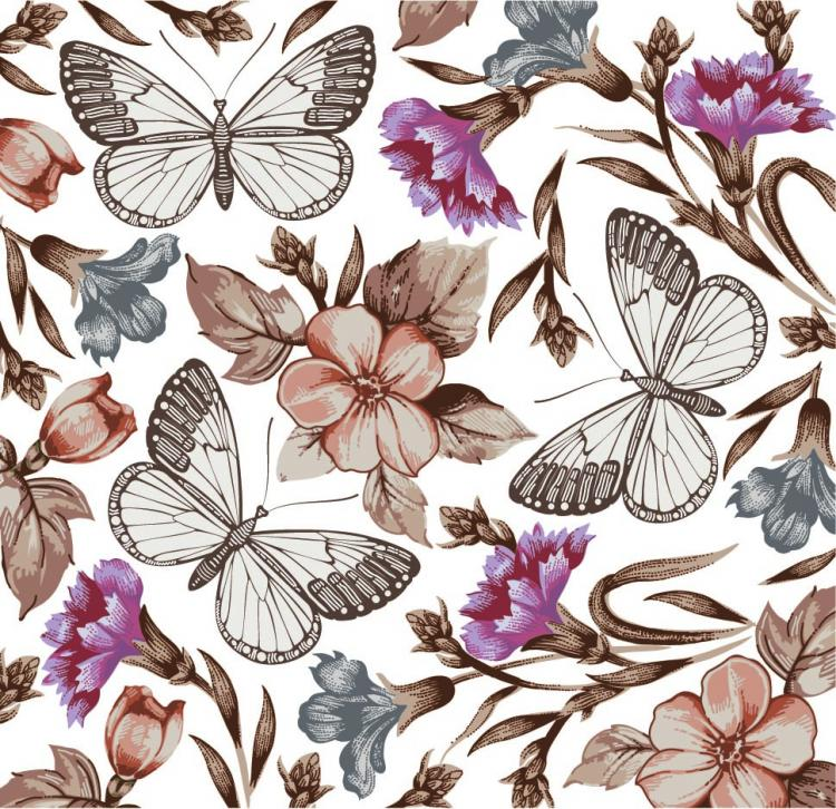 free vector Butterfly floral 04 vector