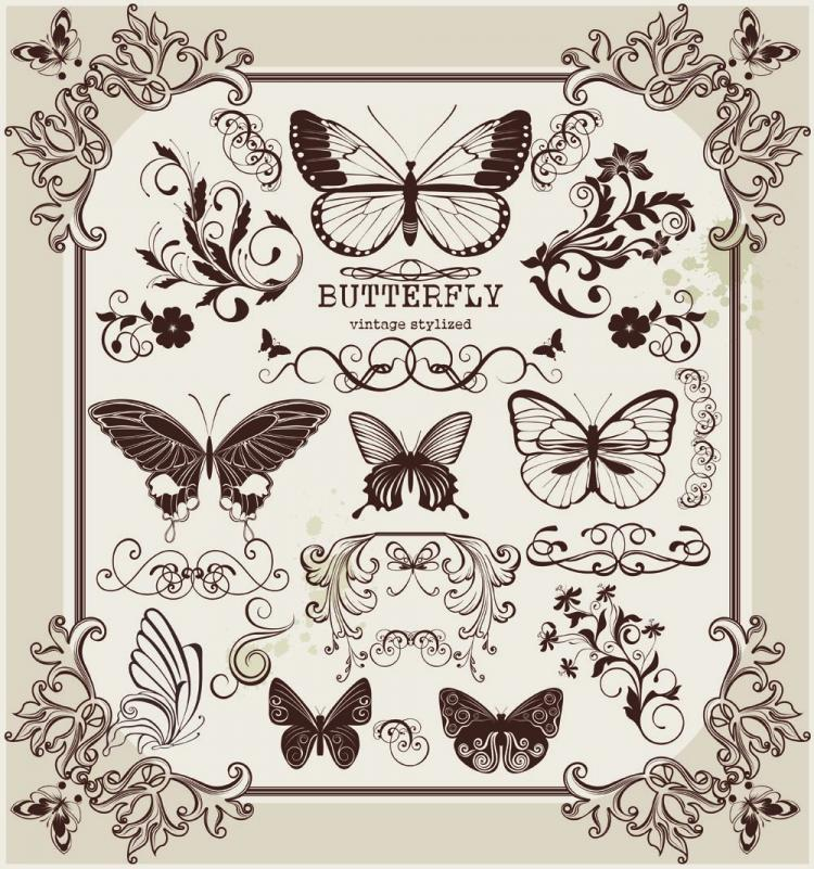 butterfly pattern 2 vector free vector 4vector