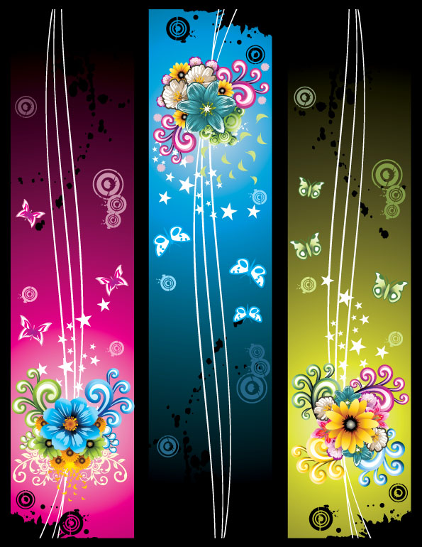 free vector Butterfly pattern banner with the fashion flowers