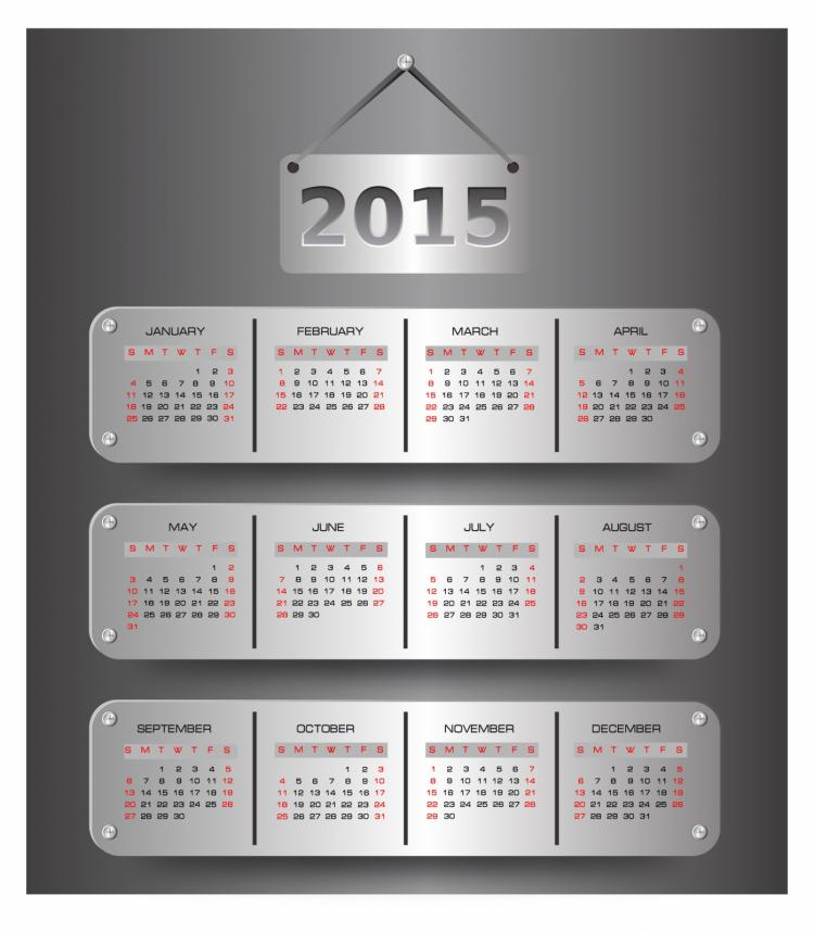 free vector Calendar for 2015 year
