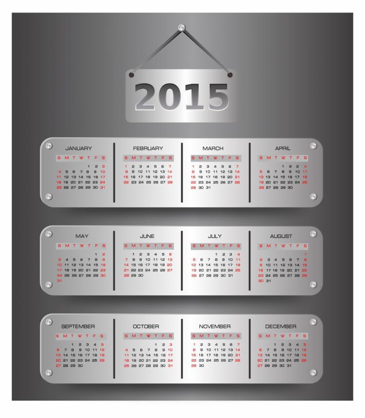 free vector Calendar for 2015 year