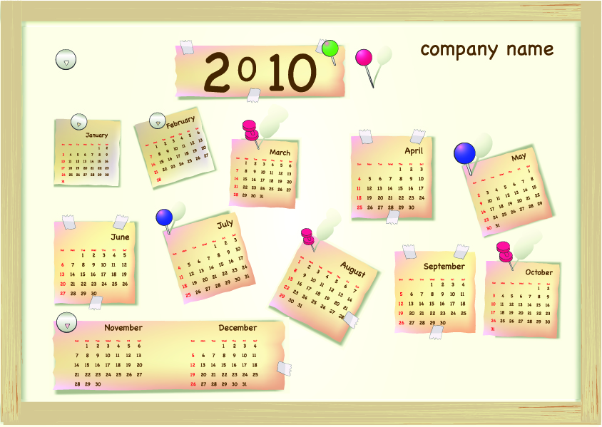free vector Calendar year 2010 vector lovely