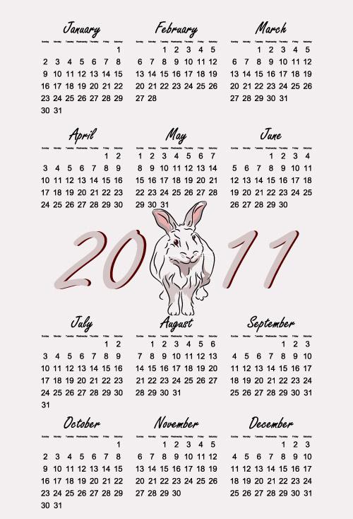free vector Calendar Year Of The Rabbit 2011 Calendar Year Rabbit
