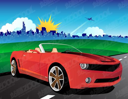 free vector Car rainbow