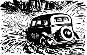 free vector Car Splashing Into The Pool clip art