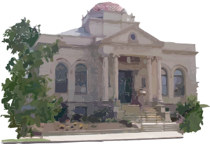free vector Carnegie Library Building clip art