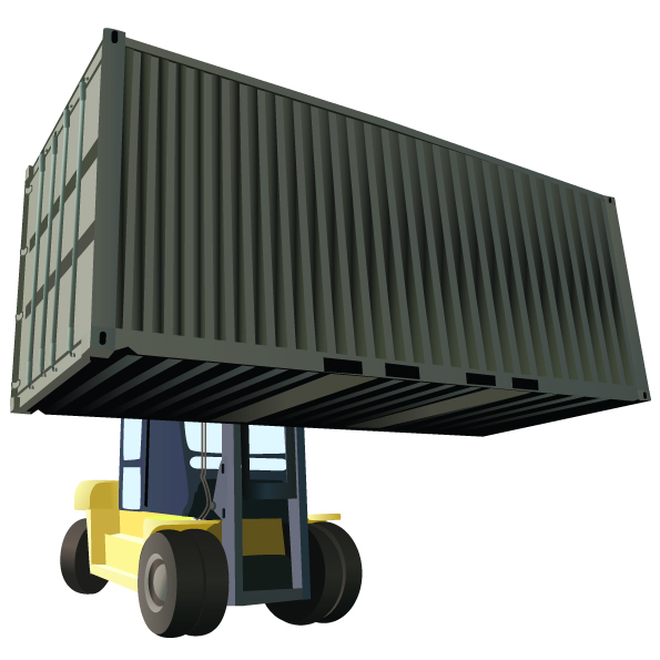 free vector Cars, container trucks, lifting trucks, large cars, forklift vector