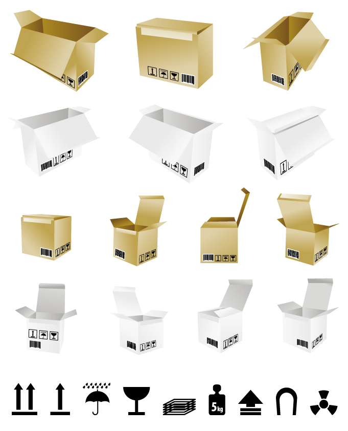 free vector Cartons and shipping identification vector