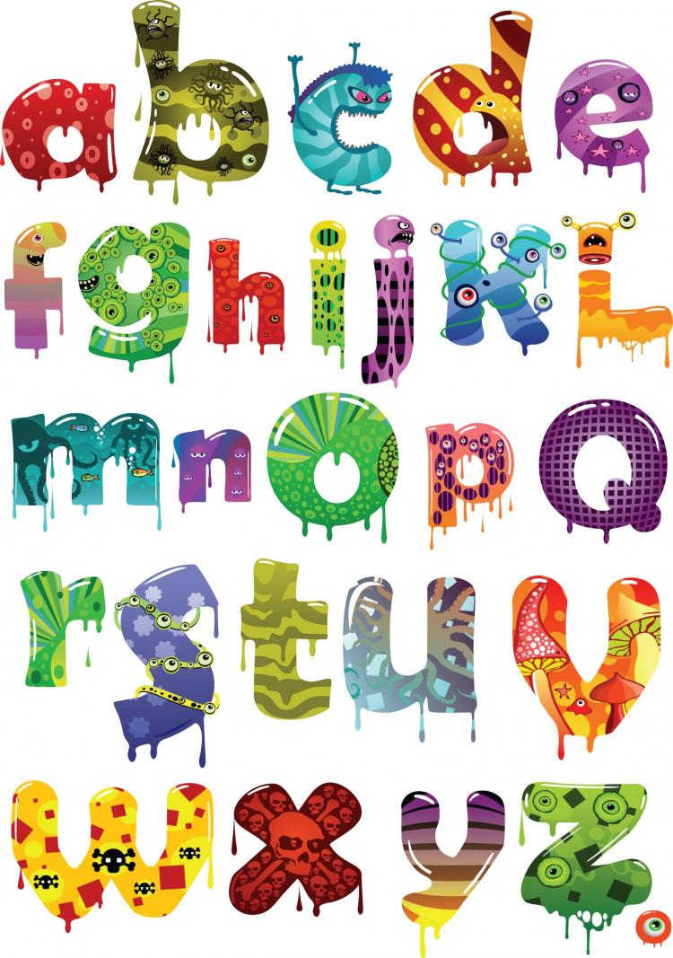 Cartoon alphabet vector free vector 4vector - Letras infantiles para decorar ...