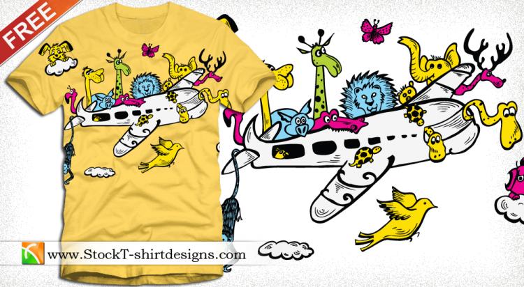free vector Cartoon Animals Riding Airplane