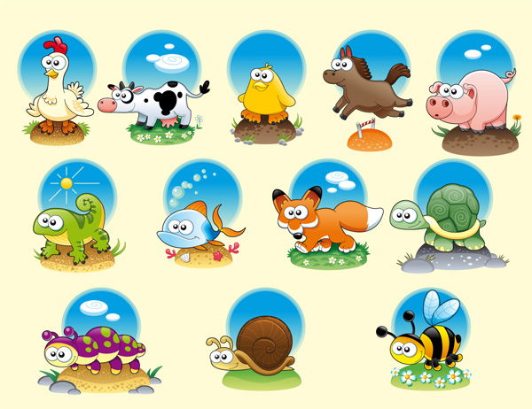 free vector Cartoon animals vector