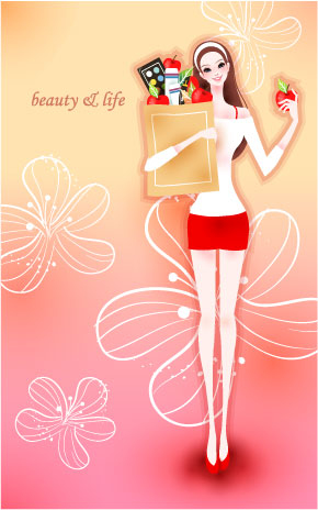 free vector Cartoon beauty vector 02