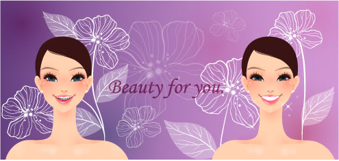 free vector Cartoon beauty vector background 01