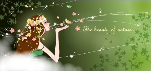 free vector Cartoon beauty vector background 04