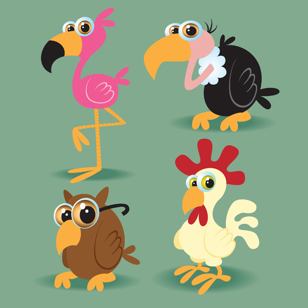 free vector Cartoon bird vector material