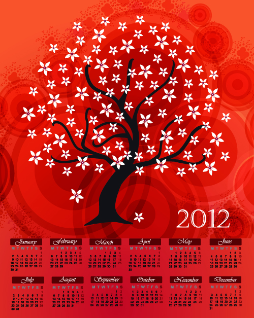 free vector Cartoon branches calendar 02 vector