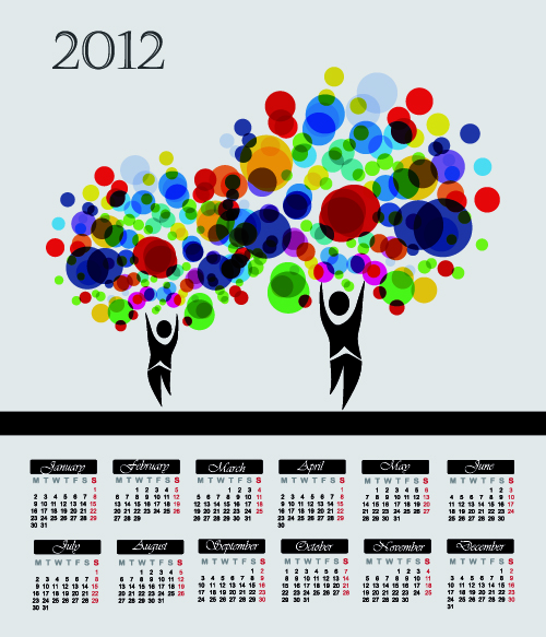 free vector Cartoon branches calendar 05 vector