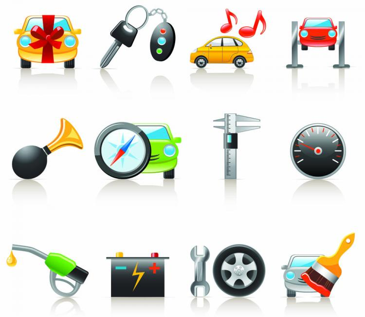 free vector Cartoon car and peripheral products icon vector