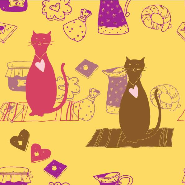 free vector Cartoon cat background 03 vector